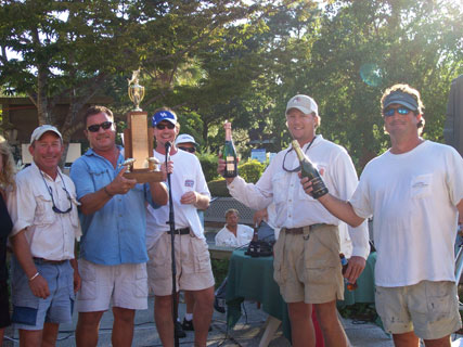 Captain Gumbo celebrating a fishing tournament win on Hilton Head Island